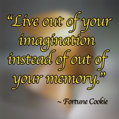 """""""Live out your imagination instead of out of your memory."""" - Fortune Cookie"""