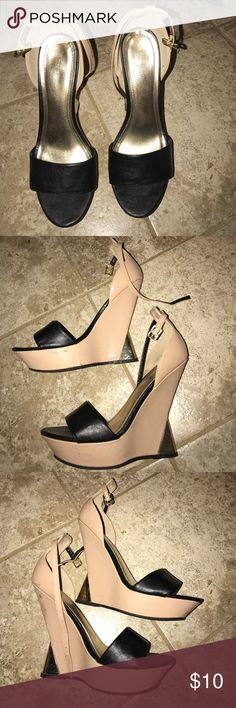 Size 9 Nude and Black Wedges Size 9 Nude and Black Wedges BAMBOO Shoes Wedges