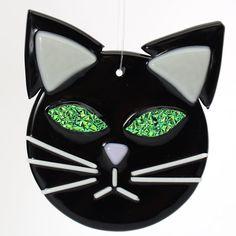 Black Cat With Green Eyes Fused glass ornament by Artdefleur, $12.00