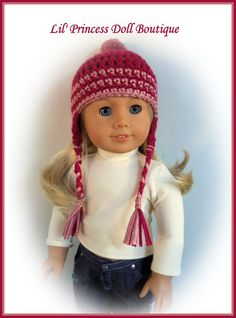 """Fits 18"""" American Girl or Gali Girl Doll, Crochet Pigtail Hat with Braids, Raspberry, Handmade Doll Clothes"""