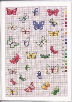 Tante farfalle colorate schemi punto croce piccoli - magiedifilo.it punto croce…