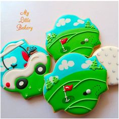 Likes, 28 Comments - Nadia Golf Cookies, Car Cookies, Paint Cookies, Fancy Cookies, Cut Out Cookies, Cupcake Cookies, Cupcakes, Golf Birthday Cakes, Cookie Cake Birthday