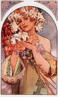 Woman with Flowers by Alphonse Mucha. (Art Nouveau Style Posters & Canvas ) Sumptuous style filled with soft colors, curving lines and ethereal women. Mucha was inspired to paint by the artwork he saw in churches. Comics Vintage, Vintage Poster, Vintage Art, Art And Illustration, Art Nouveau Mucha, Alphonse Mucha Art, Fantasy Artwork, Illustrator, Jugendstil Design