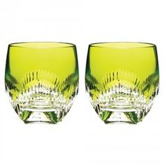 Waterford Neon Lime Double Old Fashioned Pair