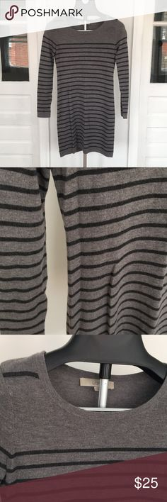 Striped Sweater Dress Gray and black striped sweater dress from the loft size XS LOFT Dresses Long Sleeve