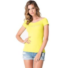 Bebe Logo doble cuello en V T-Shirt Top Cristales Camiseta acanalada (M, Amarillo (SAU))