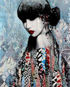 Daily news on all things Graffiti & Street Art related Artwork by the very best graffiti artists & street artists around the world. Art Geisha, Geisha Kunst, Graffiti Art, Graffiti Painting, Contemporary Artists, Modern Art, Urbane Kunst, Inspiration Art, Art Abstrait
