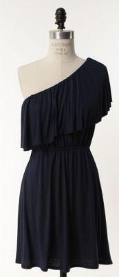 Navy one shoulder dress<3