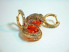 LeVian Fire Opal and Diamond Earrings