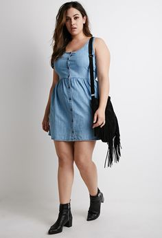 Buttoned Chambray Babydoll Dress | Forever 21 PLUS - 2000076576