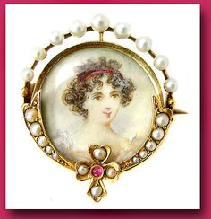 Victorian 18K gold FRENCH PORTRAIT PIN HAND PAINTED MINIATURE BROOCH SEED PEARLS