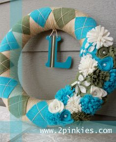 Spring Wreath Antique Gold Aqua and Olive Green 14 by TwoPinkies, $42.00