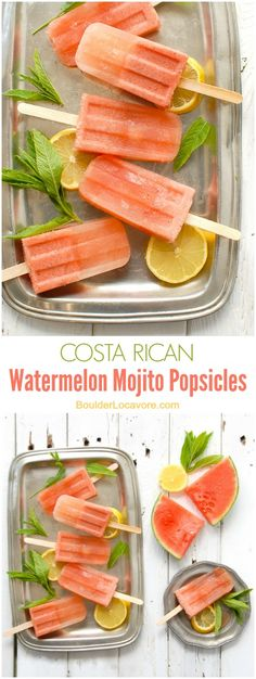 Costa Rican Watermelon Mojito Popsicles. A refreshing boozy popsicle recipe inspired by a Costa Rican cocktail. Watermelon, mint and a touch of rum take the edge off any hot day!