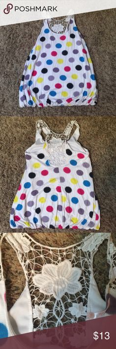 "Polka dot Bubble top, size L, 25.5 long, CUTE Really darling polka dot bubble top. It's a size large from Rue 21 , 18""width. , 25.5 long great summer top. Looks awesome with about anything from shirts to skirts to jeans Rue 21 Tops Tunics"