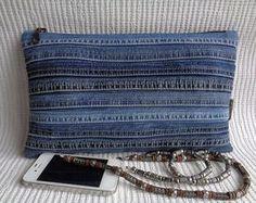 Denim clutch make up cosmetic zipper bag pouch case por BukiBuki