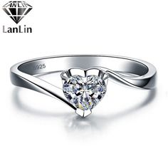 Heart Zirconia Crystal Sterling Silver Jewelry 925