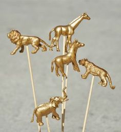 Painted Gold Circus Animals
