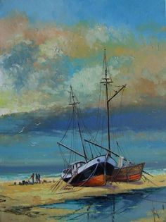 Seascape Boats Shore Original Oil Painting Beach Impasto Europe Artist #ImpressionismImpasto