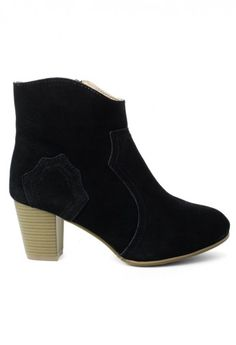 Suede Leather Ankle Boots in Black
