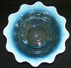 Fenton Blue Opalescent Hobnail Champagne Punch Bowl for Levay