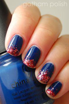 Gotham Polish: Happy 4th of July! juli nail, china glaze, nail art ideas, nail arts, glitter nails, 4th of july, nail idea, independence day, blue nails