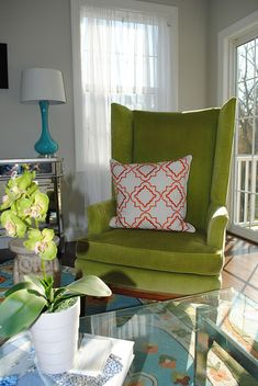 Mechanicsburg Living Room, Lime Green, Turquoise, Orange