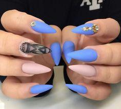 Matte pastel blue and nude NailsbyMztina