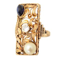 Arts and Crafts Gold Ring | From a unique collection of vintage fashion rings at http://www.1stdibs.com/jewelry/rings/fashion-rings/