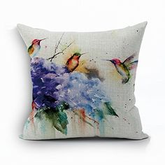 Ink Painting Hummingbird And Purple Hydrangea Home Throw Pillow Case Personalized Cushion Cover NEW Home Office Decorative Square 18 X 18 Inches * Check out the image by visiting the link. (This is an Amazon Affiliate link and I receive a commission for the sales)