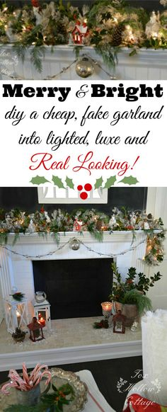 FAKE CHRISTMAS GARLAND HACK: Do what I do to make my holiday garlands look lush, full and way more expensive. You too can make your faux garland look like the real thing! This is a super cheap, easy and often FREE fix!!  www.foxhollowcottage.com