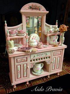 Kitchen cupboard Rose 1/12. Dollhouse Furniture
