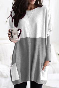 Long Sleeve Tunic, Long Sleeve Tops, Long Sleeve Shirts, Gris Rose, Skirts With Pockets, Madame, Plus Size Blouses, Long Tops, Women's Tops