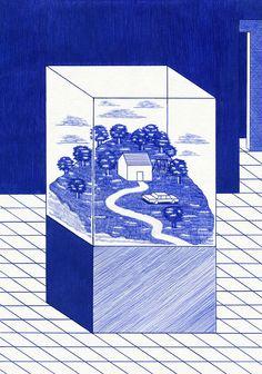 Kevin Lucbert worlds in between blue lines — DOP Graphic Design Illustration, Illustration Art, Jaguar, Negative And Positive Space, Landscape Drawings, Arte Popular, Grafik Design, Art Plastique, My Favorite Part