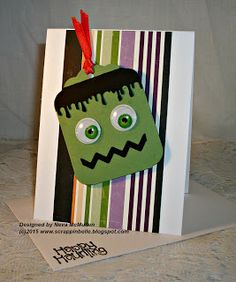 handmade Halloween card from Neva's Crafty Cave ... Frankenstein head punch art tag ... like the layout ...
