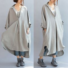 A beautiful version of the type jacket, double deck, outside is hemp material, the inner layer is linen, the sleeve is a single layer. Collar design is very good, stretching the neck line and a...