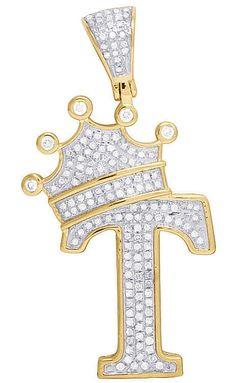 1 Ct Diamond Initial C Letter Alphabet King Crown Pendant 14k Yellow Gold Finish