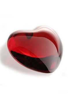 Baccarat puffed heart ruby crystal made in France