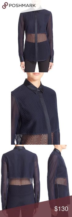 """Rag & Bone Luna Mesh Silk Blend Shirt NWT. No wears/tears. A knit mesh overlay heightens the fashion-forward, street-smart style of a cut-off shirt tailored w/ a crisp collar, button placket and rounded hemline and cuffs. - Front button closure - Spread collar - Long sleeves with single-button cuffs - Approx. 28"""" length - Imported Fiber Content Self: 96% cotton, 4% elastane  Contrast: 100% silk Fit: this style fits true to size.  Model's stats for sizing: - Height: 5'11"""" - Bust: 32"""" - Waist…"""