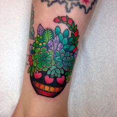 """ super fun succulent pot, thank you Ginger!! ✨ I love doing these! #succulents #cactus #tattoo #wlba"""