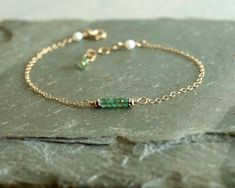 Emerald Bracelet, small genuine emeralds, dainty gold chain, freshwater pearls, natural real emerald beads, green emerald jewelry gemstones