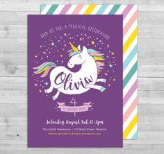Unicorn Invitation Unicorn Birthday Invitation by WLAZdesignSHOP                                                                                                                                                                                 More