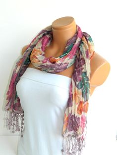 Pink Purple Multicolor Scarf Turkish Fabric by WomanStyleStore, $19.90