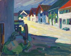 "lawrenceleemagnuson:  Wassily Kandinsky (1866-1944) Murnau – Strasse inscribed, dated and numbered by Gabriele Münter ""1908"" oil on canvasboard 33 x 41 cm"
