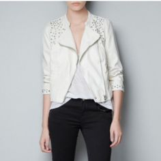 Zara White Studded Biker Jacket Double breasted, zip, studded shoulder line detailing. Shell: Base fabric: 100% viscose Coating: 100% polyurethane Lining: Body lining: 100% cotton Sleeve lining: 100% polyester Color: white Price is firm, NO paypal or NO Trades. 10% Discount given on bundles only.  No Holds  Zara Jackets & Coats