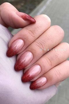 Nude to Red Glitter Ombre Nails Nails 41 Pretty Ways to Wear Red Nails Red Tip Nails, Pretty Gel Nails, Red Ombre Nails, Glitter Tip Nails, Red Acrylic Nails, Red Nails With Glitter, Ombre Nail Art, Red And Silver Nails, Oval Nail Art