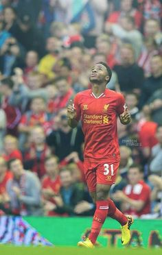 LIVERPOOL, ENGLAND - Tuesday, August Liverpool's Raheem Sterling celebrates scoring the first goal against Notts County during the Football League Cup Round match at Anfield. (Pic by David Rawcliffe/Propaganda) Liverpool Kit, Liverpool Players, Liverpool Football Club, Liverpool England, Best Football Players, World Football, Soccer Players, Sport Football, This Is Anfield