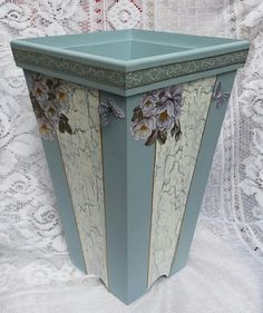 Decoupage Box, Shabby Chic Decor, Painting On Wood, Decorative Boxes, Vase, Diy, Crafts, Ideas, Home Decor