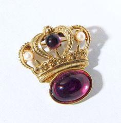 Vintage Crown Brooch Purple Cabochons & Faux Pearls