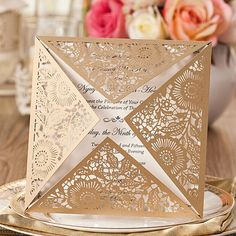 50 Fancy Golden Flower Invitation For Wedding; Gold Square Laser Cut Wedding Invitation -- Set of 50 pcs Muslim Wedding Invitations, Wedding Invitation Card Design, Laser Cut Invitation, Flower Invitation, Invitation Templates, Lace Invitations, Invitation Envelopes, Invitation Ideas, Wedding Stationery