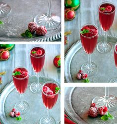 Frozen Raspberry Sparkle--A Pretty and Festive Holiday Cocktail